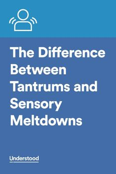 """Knowing the difference between tantrums and sensory meltdown helps you better respond. """"To tame tantrums, acknowledge what your child needs without giving in. - To manage a meltdown, help your child find a safe, quiet place to de-escalate. Sensory Disorder, Sensory Processing Disorder, Autism Sensory, Sensory Activities, Sensory Toys, Adhd And Autism, Aspergers Autism, Autism Parenting, Sensory Diet"""