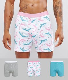 ASOS Jersey Boxers With Dolphin Print 3 Pack SAVE - Multi