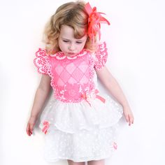 93f93952d Little Darlings Girls Dress - White/ Neon Pink - Childrens Outlet