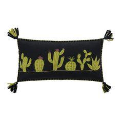 Buy Jan Constantine Fiesta Cactus Pillow - Black | Amara