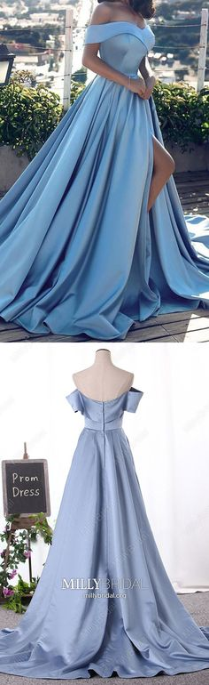 Light Sky Blue Prom Dresses For Teens,Long Prom Dresses with Slit,Modest Prom Dresses Princess,Cheap Prom Dresses Off-the-shoulder,Unique Prom Dresses Satin
