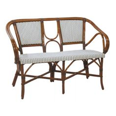 "WA HOO DESIGNS Bistro Love Seat HK-112-LS. 45""W x 22""D x 32""H overall & 18"" to seat. Weave: L1H1 Horizontal White Vertical: Brown, Finish: Dark Honey"