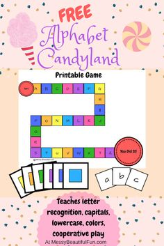 Messy, Beautiful, Fun: FREE Printable: Alphabet Candyland - Learning Upper and Lowercase Letters Through Play Letter Learning Games, Letter Games, Teaching Letters, Preschool Letters, Free Preschool, Preschool Lessons, Alphabet Activities, Preschool Printables, Learning Activities