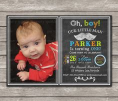 Oh Boy Little Man Birthday Invite  Chalkboard by PartySparkle, $9.99