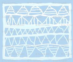 Fabric available on Spoonflower - 'Pale blue registers' of abstract symbols: white and ice blue on pale blue background, half-drop repeat. Original: chalk on canvas. [300 ppi] #Abstract #Geometric #Handdrawn #Su_G #Primitive #Pale #Chalk #Symbols #Naive #Blue