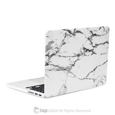 """White Marble Rubberized Hard Case for MacBook Pro 13"""" with Retina Display"""