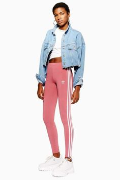These adidas dark pink leggings with three stripe detailing down the leg creates a feminine approach to sportswear. Striped Leggings, Women's Leggings, Leggings Are Not Pants, Adidas Three Stripes, Pink Adidas, Adidas Outfit, Adidas Pants, Sportswear, Street Wear