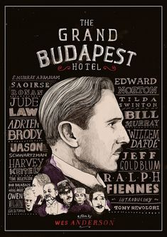 New poster from artist Peter Strain highlights the huge cast for Wes Anderson's 'The Grand Budapest Hotel'.
