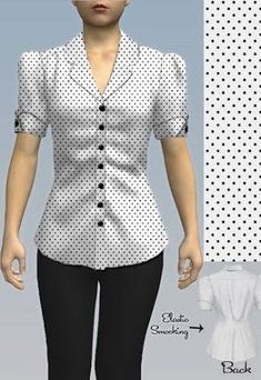 Inspired Blouse by Amber Middaugh 2015 Sewing Blouses, Shirt Makeover, Dressy Tops, Short Tops, Long Tops, Classy Dress, Work Attire, Dress Patterns, Blouse Designs