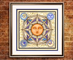 "Sun Moon Art Print by Artist Dan Morris titled ""Pranayama"", Chose print size, Option to mount print, celestial artwork,spiritual art Tangled Sun, Dan Morris, Moon Symbols, Sun Moon Stars, Moon Art, Art Boards, Zodiac, Fine Art, Art Prints"