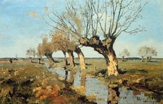 Pollard Willow At The Side Of The Broo - Cornelis Vreedenburgh Impressionist Landscape, Abstract Landscape, Landscape Paintings, Summer Painting, Garden Painting, Collor, Dutch Painters, Dutch Artists, Paintings I Love