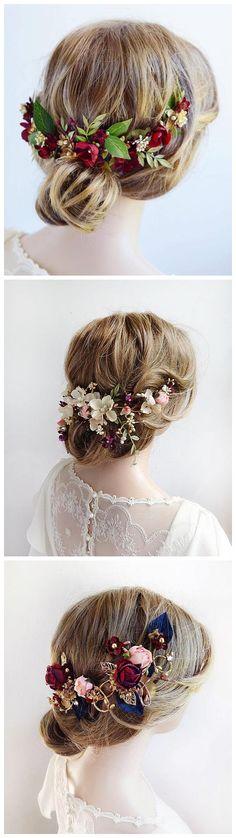 burgundy headpiece, floral hair piece, burgundy hair clip, bridal headpiece, burgundy hair flower, gold wedding, leaf floral hair clip #weddings #weddingideas #fallweddings