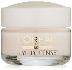 L'Oreal Paris Eye Defense, 0.5 Fluid Ounce (071249721018) Reduces puffiness, smoothes fine line and wrinkles, and diminishes dark circles around the eyes Formulated with Liposomes to penetrate the skins surface to deliver hydrating and nurturing ingredients Ophthalmologist tested, safe for contact lens wearers Dermatologist tested, frangrance-free Net Wt. 0.5 oz.