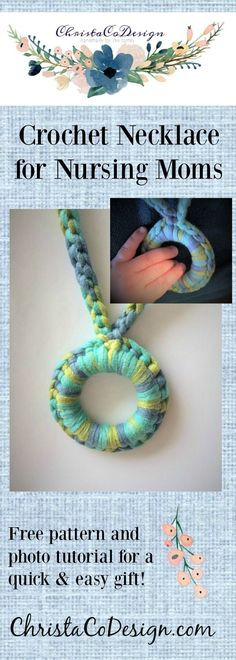 crochet necklace   nursing necklace   crochet tutorial   teething necklace   free crochet pattern   photo tutorial   wood ring jewelry