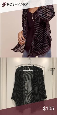 ANTHROPOLOGIE grey/black velvet kimono jacket New without tags, never been worn. Please make me a reasonable offer! No trades! Anthropologie Other