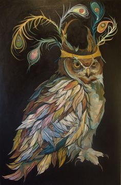 """Owl With Peacock Feather Crown- Large PRINT 19"""" x 13"""". $45.00, via Etsy."""