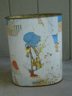 Vintage Holly Hobbie Metal Trash Can