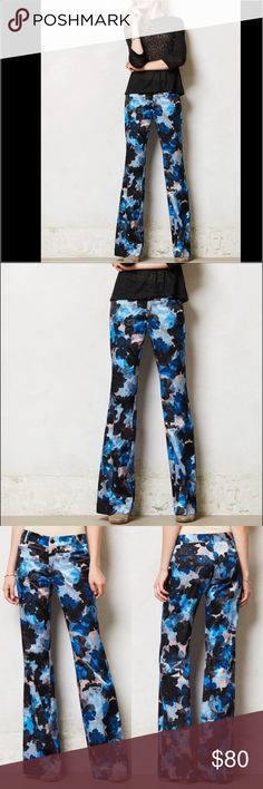 "Anthropologie Floral Trousers! Floral Brighton Wide-Legs by Elevenses. Drawing upon vintage references with a pinch of Anglophilia, Evokes a mood of modern elegance. An incredibly flattering wide-leg trouser that's as comfortable at the office as it is kicking back on the weekend. We can't get enough of this silky pair's bold florals; in excellent condition with no issues. Front, back welt pockets Cotton, viscose, spandex Machine wash 14"" waist, 8.25"" rise and 29.75"" inseam. Anthropologie…"