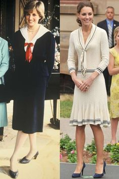 Diana at Buckingham Palace in 1980; Kate wearing Alexander McQueen in Charlottetown, Canada during t... - Provided by Harper's Bazaar