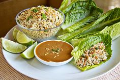 Thai-Style Peanut Chicken Lettuce Wraps with Sweetly Savory Peanut Dipping Sauce