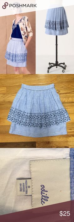 """Odille Alpine Skirt flaws. Perfect for summer! Waist is 14"""" across. """"Two tiers of blue chambray with an embroidered peplum will have you bounding through edelweiss-filled meadows and singing from the mountaintops. By Odille. Side pockets Side zip Linen, cotton; cotton lining Machine wash 21"""" Anthropologie Skirts Midi"""