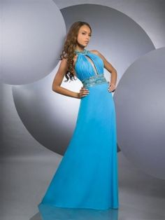 Sheath/Column High Neck Chiffon Floor-length Blue Dress With Beading