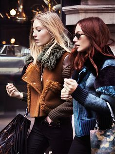 Ella Richards and Clara Paget on the Burberry A/W15 campaign set wearing jackets in contrast textures and rich tones