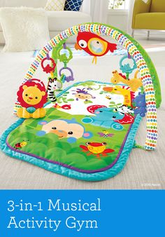 Surrounded by rainforest friends, the  3-in-1 Musical Activity Gym makes it easy for baby to lay & play, push up for tummy time or sit & play on the padded activity mat.   Birth & up.