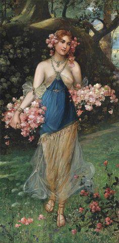 """The Maidens of Spring"" by Hans Zatzka (1859-1945)."