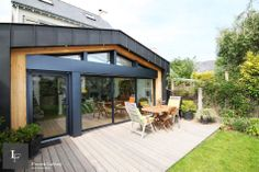 Extension of a private house in Larmor beach (France) by Franck Labbay-architecte dplg Extension Designs, Glass Extension, Rear Extension, Zinc Roof, Glass Roof, Architecture, Extensions, Construction, New Homes