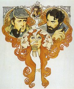 The Seven Percent Solution (1976), watercolor, acrylic, colored pencils, pen and ink on board  Based on Nicholas Meyer's story, Herbert Ross' film has Sherlock Holmes meeting Sigmund Freund. Amsel beautifully captures the decorative Art Nouveau style of Alfons Mucha in this painting.