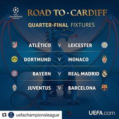 April 11th can't get here soon enough. #quarterfinals #championsleague #soccerteams #soccerplayers