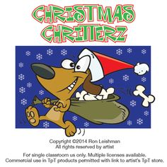 Christmas animals cartoon clipart for teachers