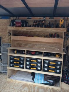 Job Site Trailers, Show Off Your Set Ups! - Page 69 - Tools & Equipment Trailer Shelving, Van Shelving, Trailer Storage, Truck Storage, Diy Garage Storage, Work Trailer, Utility Trailer, Cargo Trailers, Van Storage