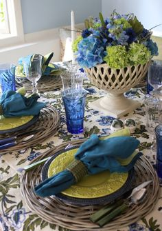 An Accomplished Woman: Blue and Green Table