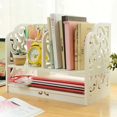 2014 Fashion Home & Office Desk Organizer, DIY desktop Storage Rack, White Ornamental Engraving Mini Wood BookShelf