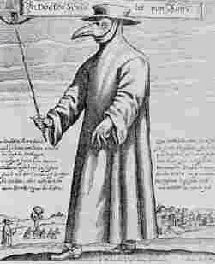 """Paulus Furst's 1656 engraving of Dr. Schnabel (""""Beak"""") of Rome wearing protective clothing typical of the plague doctors of Rome at the time."""