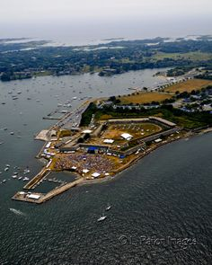 Aerial photograph of Fort Adams in Newport, Rhode Island. Day of the annual Jazz festival. Copyright: L. Paton Photography 2014 All rights reserved.