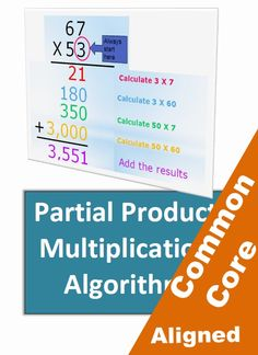 Partial product multiplication lesson and worksheets. From Betsy Weigle at Classroom Caboodle. Common Core aligned: Math, multiplication.