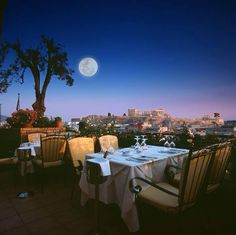 """Stunning view of the Acropolis in full moon! """"Olive Garden"""" restaurant at """"Titania"""" hotel Athens Hotel, Athens Greece, Athens Restaurants, Olive Gardens, Acropolis, Beautiful Architecture, Adventure Is Out There, Stunning View, Rooftop"""