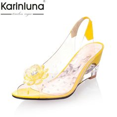 c4e2d7c485c8b ... directly from China shoes high heels pink Suppliers  Meotina Ladies  Sandals Wedge Sandals Fashion Shoes Women Transparent Sexy High Heels Shoes  Flowers ...