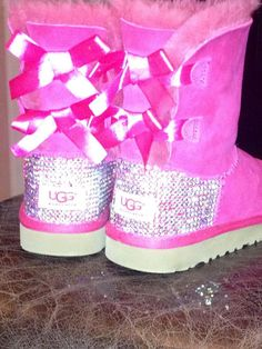 Youth Swarovski crystal Ugg Boots by HarrietHazelDesigns on Etsy, $250.00
