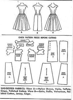 1956 Vintage Sewing Pattern DRESS for sale online Easy Sewing Patterns, Vogue Patterns, Vintage Sewing Patterns, Barbie Clothes Patterns, Clothing Patterns, Dress Patterns, Simplicity Patterns, Types Of Dresses, Pattern Paper
