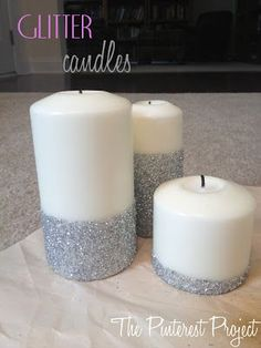 Glitter Candles - might be good for a wedding centerpiece @Sasha Hatherly Hatherly Butler