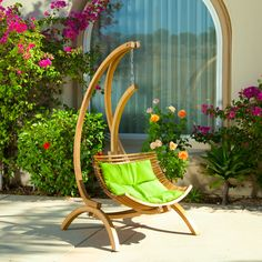 Hendrick Wooden Hanging Chair Swing w/ Green Cushion - 11 Main