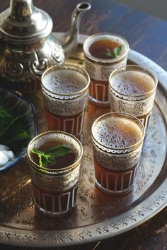 Moroccan Mint Tea recipe. Lovely presentation on a hand hammered tray.