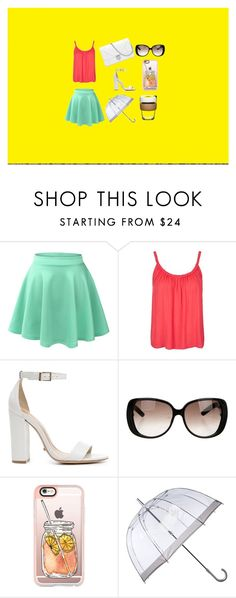 """""""random"""" by alexislynea-13 ❤ liked on Polyvore featuring LE3NO, Topshop, Schutz, Gucci, Casetify, Fulton and KeepCup"""