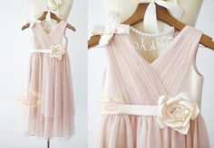 Boho Beach Blush Pink Tulle Flower Girl Dress Junior Bridesmaid Wedding Party DressF0077
