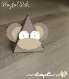 stampin up playful pals pyramid dreiecksbox thinlit Freunde mit Ecken und Kanten Affe monkey verpacken stempeltier
