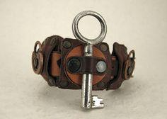 131 Nordic Steampunk Skeleton Key Bracelet Industrial Viking Boho Recycled Jewelry Art Deco Machine Age
